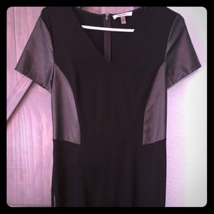 DKNYC black dress with leather accents